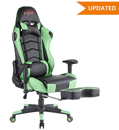 [UPDATED]Top Gamer Ergonomic Gaming Chair Game Computer Chairs With  Footrest (Green/