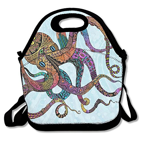 PengYou Coloful Medallion Tribe Octopus Art Lunch Tote Bag Lunchbox With Adjustable Shoulder Strap For Work Kids Women Men