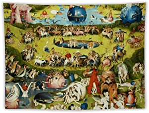 Garden of Earthly Delights, Paradise Hieronymus Bosch Apron Wall Tapestry Apestry Album 3D Wall Hanging Art Home Decor Wave Tapestries