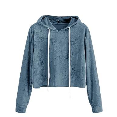 Camiseta para Mujer, Sudaderas Mujer Cortas Invierno 2017 otoño Ropa de Mujer Sudaderas con Capucha de Manga Larga Blusa Terciopelo: Amazon.es: Ropa y ...