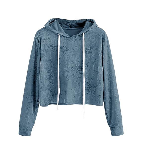 Camiseta para Mujer, Longra ❤ sudaderas mujer baratas cortas invierno 2017 otoño ropa de mujer sudaderas con capucha de manga larga blusa Terciopelo: ...