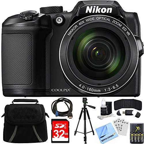 Nikon COOLPIX B500 16MP 40x Optical Zoom Digital Camera 32GB Bundle Includes Camera, Bag, 32GB Memory Card, Reader, Wallet, AA Batteries + Charger, HDMI Cable, Tripod, Beach Camera Cloth and - Nikon With Wifi Camera