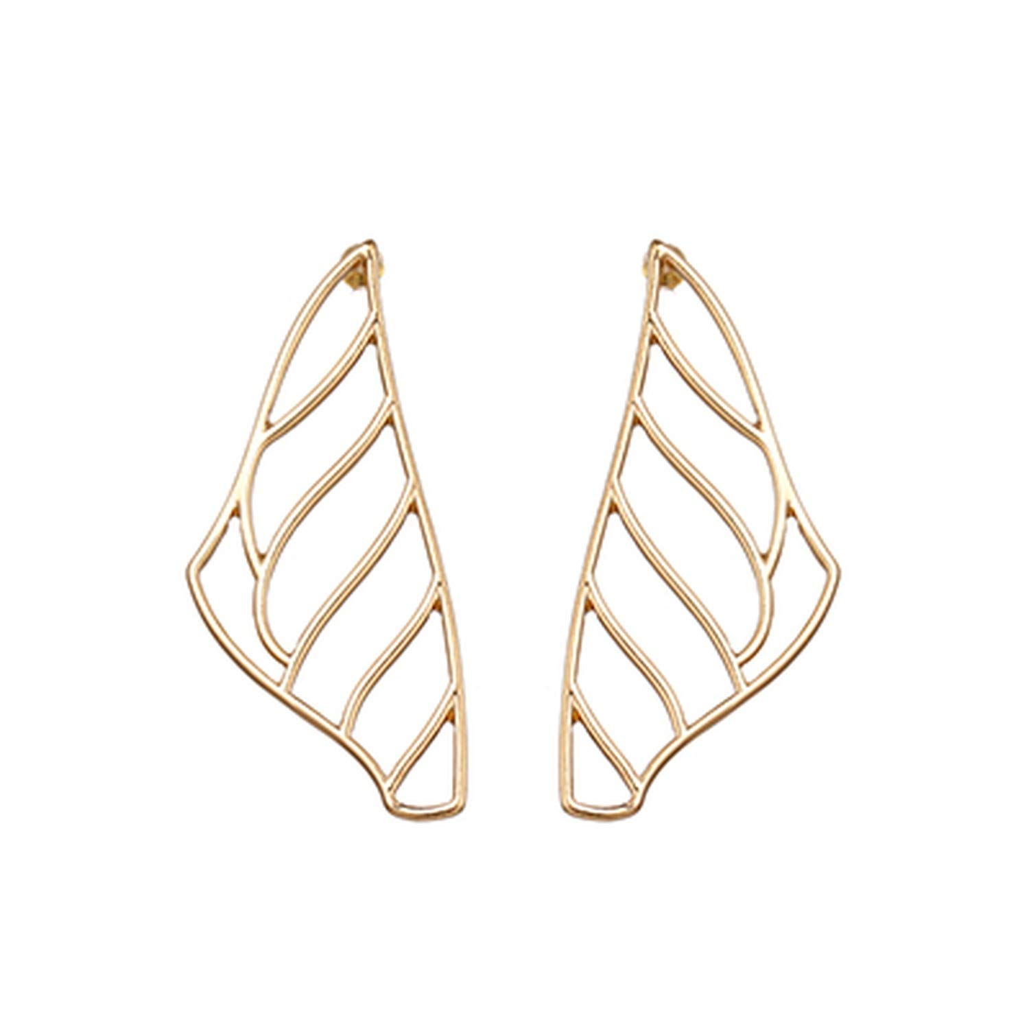 T Show Simple Gold Hollow Leaves Plant Stud Earrings Geometric Zinc Alloy Exaggerated Jewelry