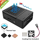 iUniker Raspberry Pi 3 B+ Case, Raspberry Pi Fan ABS Case with Cooling Fan, Raspberry Pi Heatsink, Simple Removable Top Cover for Pi 3 B+, Pi 3 Model B, Pi 2 Model B (Black for 3B+/3B)