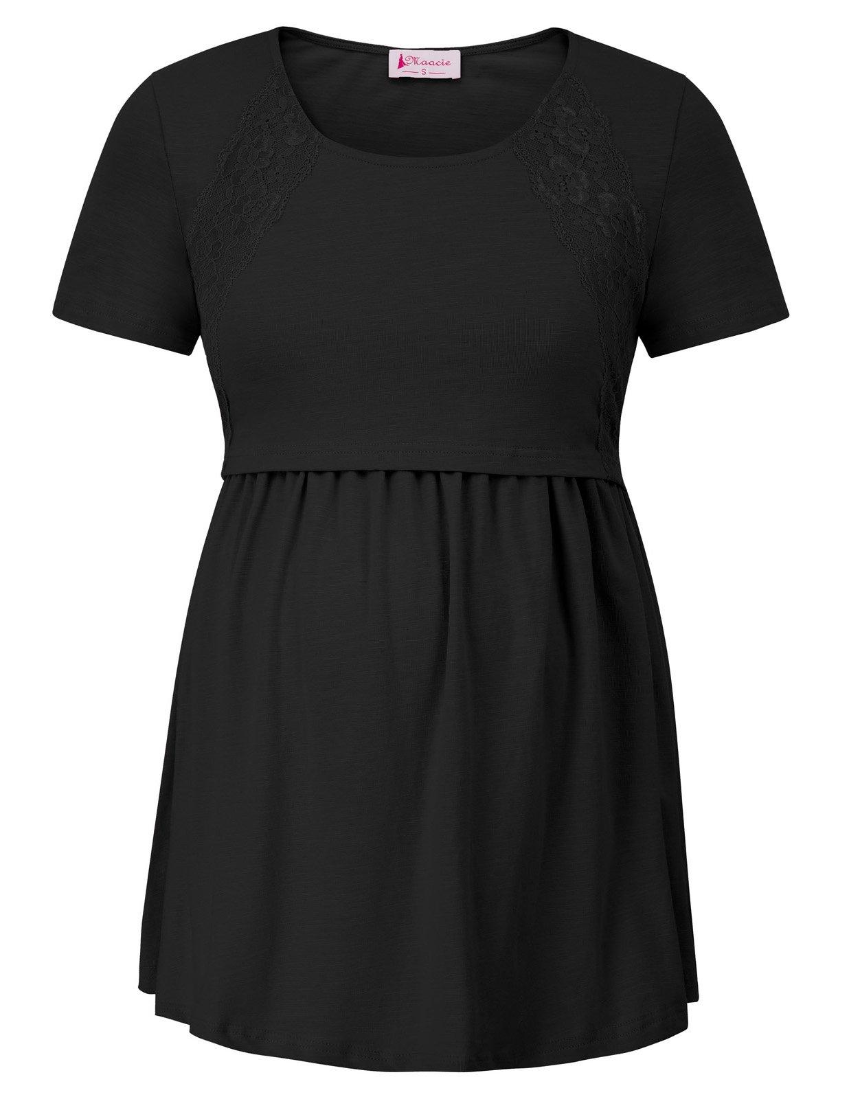 Women's Maternity Short Sleeve Solid Color Breastfeeding T-Shirt Black 2XL