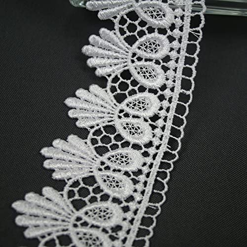 """5//8/"""" to 5-1//8/"""" Wide Black Floral Embroidered Venice Lace Guipure Trim by Yard"""