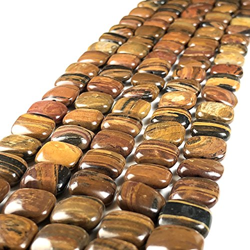 [ABCgems] Rare Madagascan Chocolate Petrified Wood AKA Fossilized Wood (Exquisite Tiger Matrix- Grade AA) 12mm Smooth Square Beads for Beading & Jewelry -