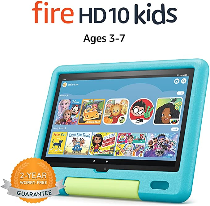 "All-new Fire HD 10 Kids tablet, 10.1"", 1080p Full HD, ages 3–7, 32 GB, Aquamarine   Amazon"