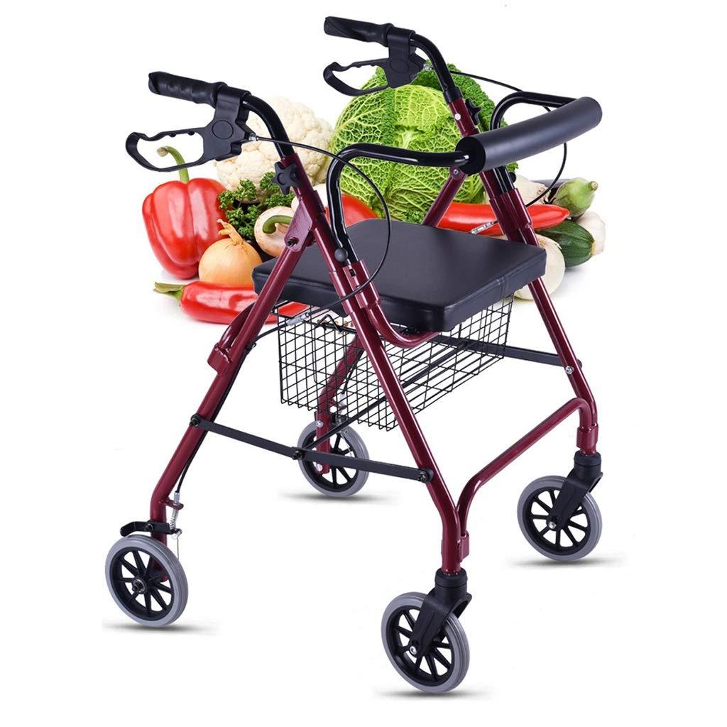 ベストセラー 歩行器 ウォーカー : トロリー Red) オールドマンショッピングカート 買う食べ物小型カート 手押し車ホームライト四輪車 折りたたみ式ブレーキ付 ウォーカー 買い物かご Red お年寄りに最高の贈り物 100kg耐えることができます (Color : Red) Red B07MH2RSMD, ベネチアングラス La zanze:8c760727 --- a0267596.xsph.ru