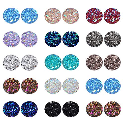PP OPOUNT 260 Pieces Mixed Shinny Colors Faux Druzy Cabochons Round Flat Back Dome Cabochons for Jewelry Making, DIY Craft (8mm in Diameter) ()