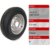 trident 165r13c caravan trailer spare wheel and 8 ply tyre 4 stud 55 inch