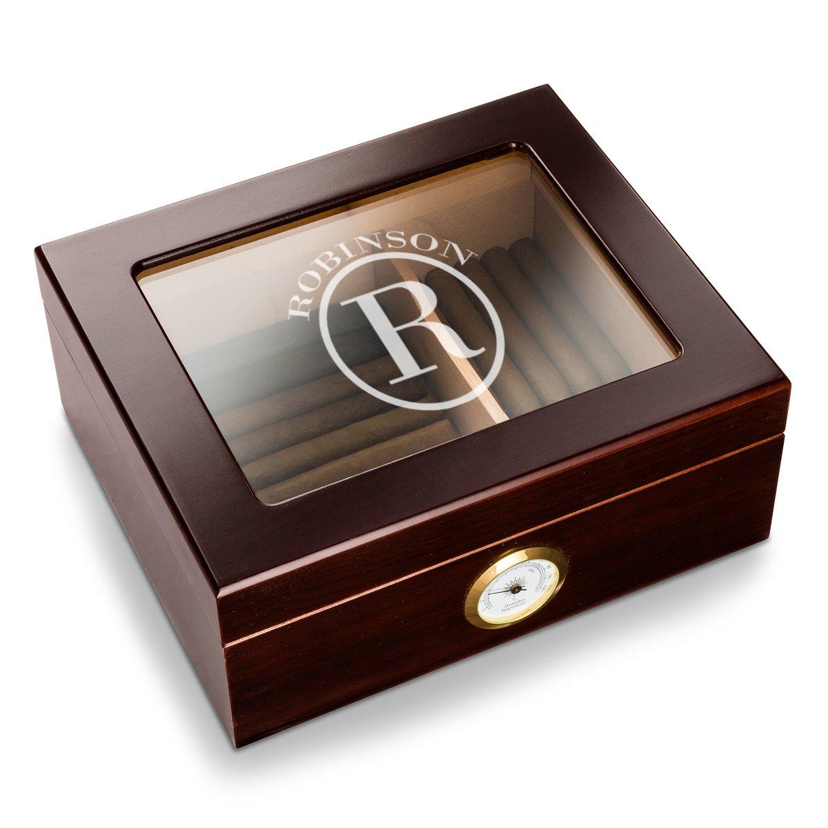 Personalized Capri Glass Top Mahogany Humidor - Circle Monogram