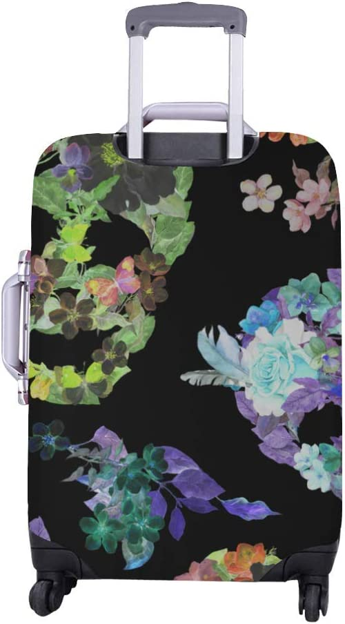 InterestPrint Luggage Cover Floral Skulls Traveling Luggage Cover Polyester Suitcase 20x24 Inch Unisex