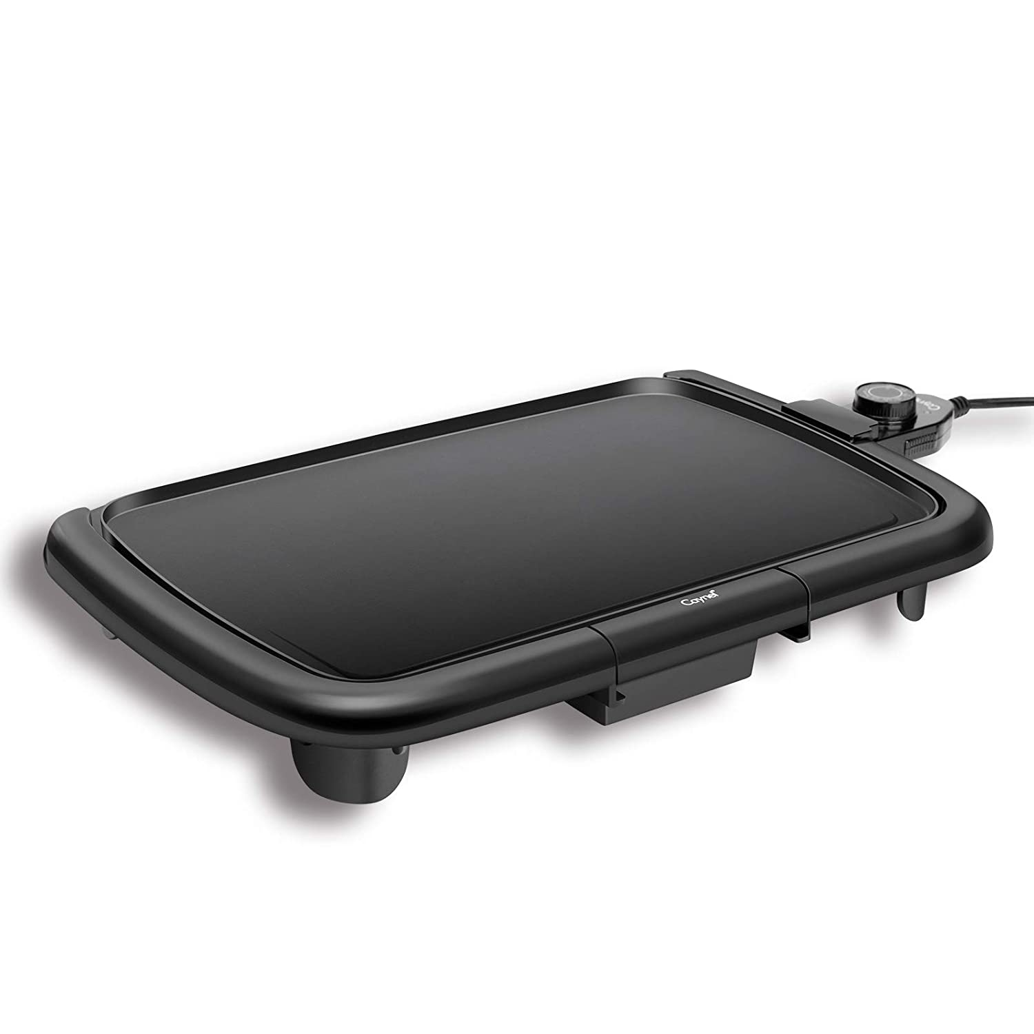 "Caynel Professional Electric Griddle, Cool-Touch Griddle, Smoke-less Non-Stick Coating with Removable Drip Tray and Cool-touch Handles, Compact Storage, Upgrade Thermostat for Indoor/Outdoor, Fully immersible Easy Cleaning, 16""x10"" Family-Sized, Copper (Black)"
