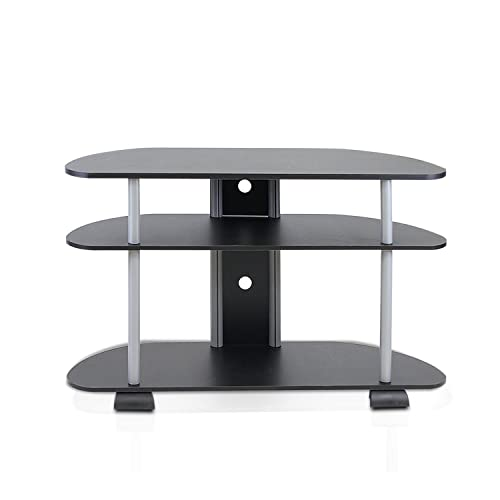 Furinno Turn-N-Tube 3-Tier Entertainment Center, Black Grey
