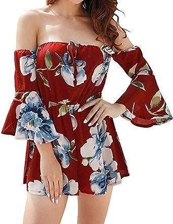 Relipop Womens Summer Floral Off Shoulder 3//4 Flared Sleeve Romper Jumpsuit