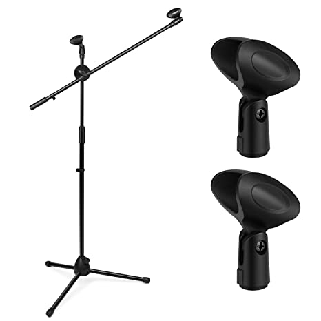 Flexzion Tripod Boom Microphone Stand w/Extending Arm & Dual Mic Holder  Clip Adjustable 360-degree Rotating Collapsible Foldable for Blue Snowball