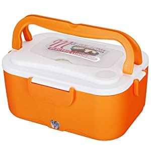 All-in-One Stackable Leakproof Bento Box , 2-Compartment 12V Electric Hearting Lunch Box For Car Honda BWM Audi Nissan Suzuki Mazda VW Kia, 24V For Truck, Van, Lorry, Keep Food Warmer Lunch Jar , Stainless Steel Container Inside For More Safe To Heat It Constantly, Great For Kids And Adults (24V, orange)