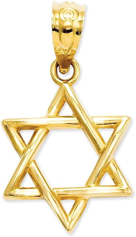 14k Gold Polished Star of David Pendant 0.79 in x 0.47 in