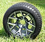 GOLF CART 12'' GUNMETAL RALLY WHEELS & 215/40-12 LOW PROFILE TIRES-SET OF 4