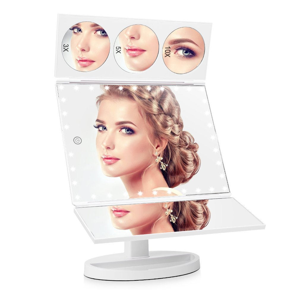 EASEHOLD 35 LED Lights Large Screen Tri-Fold Illuminated Makeup Mirror, 1X/3X/5X/10X Magnifying Vanity Mirror with Lights [Upgrade Version] (White) Optional