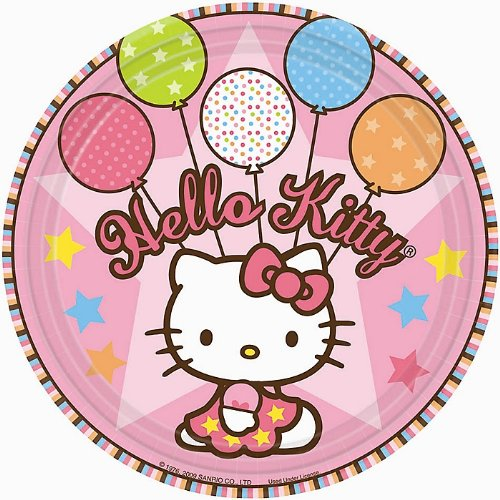 (amscan Round Plates | Hello Kitty Balloon Dreams Collection | Party Accessory)