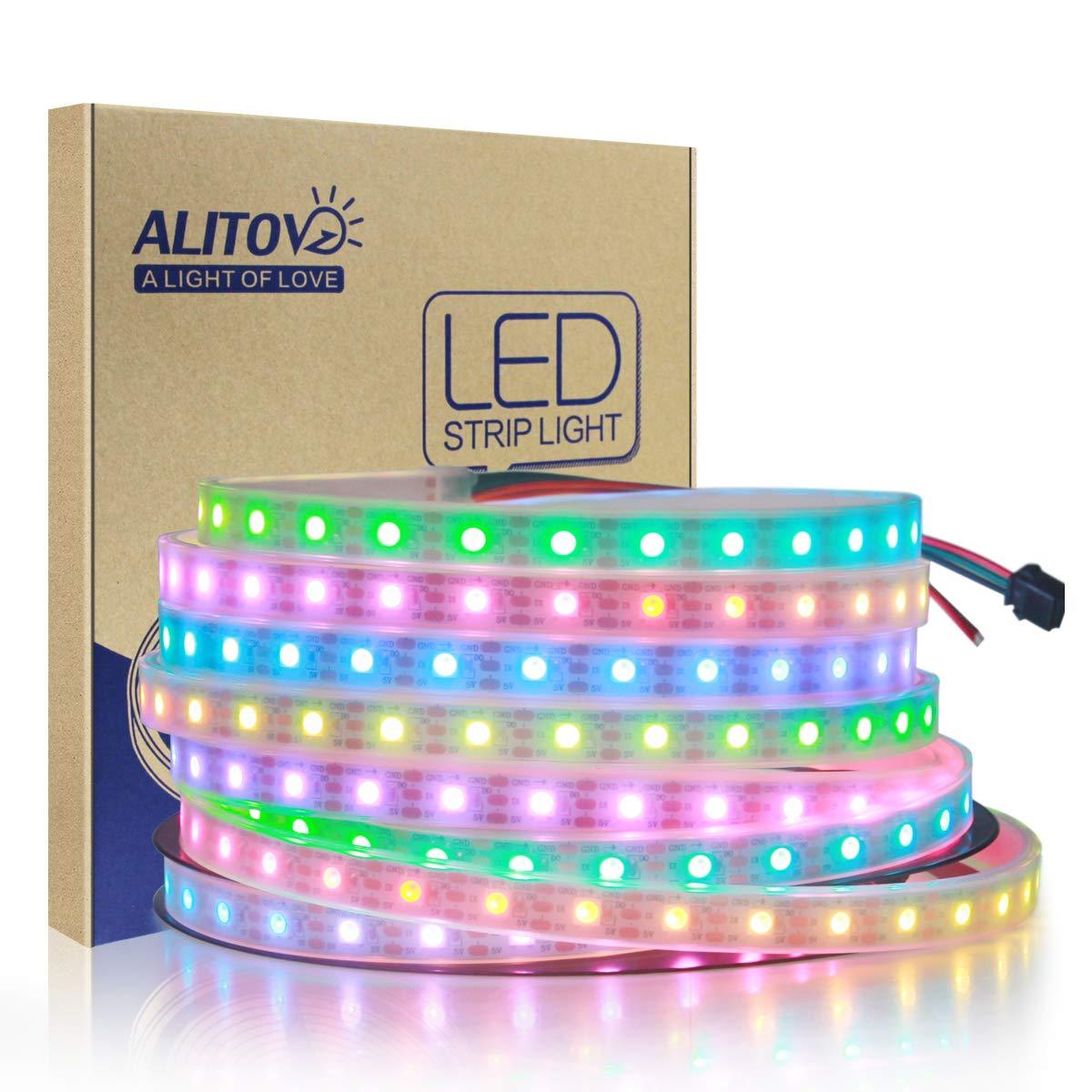 ALITOVE 16 4ft 300 LEDs WS2812B Individually Addressable 5050 RGB LED Strip  Light LED Pixel Flexible Lamp Tube Waterproof IP67 White PCB