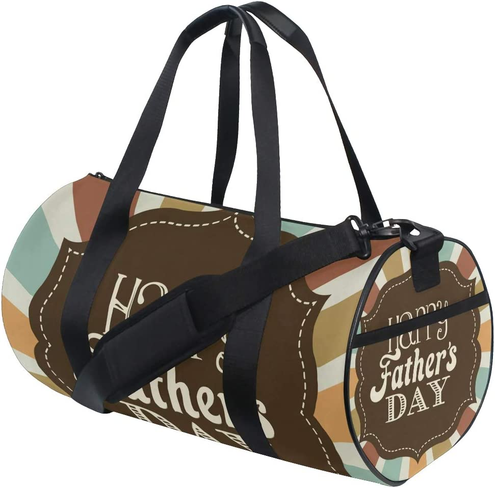 TFONE Happy Fathers Day Theme Duffel Bag Sports Gym Weekend Bags with Shoe Compartmen