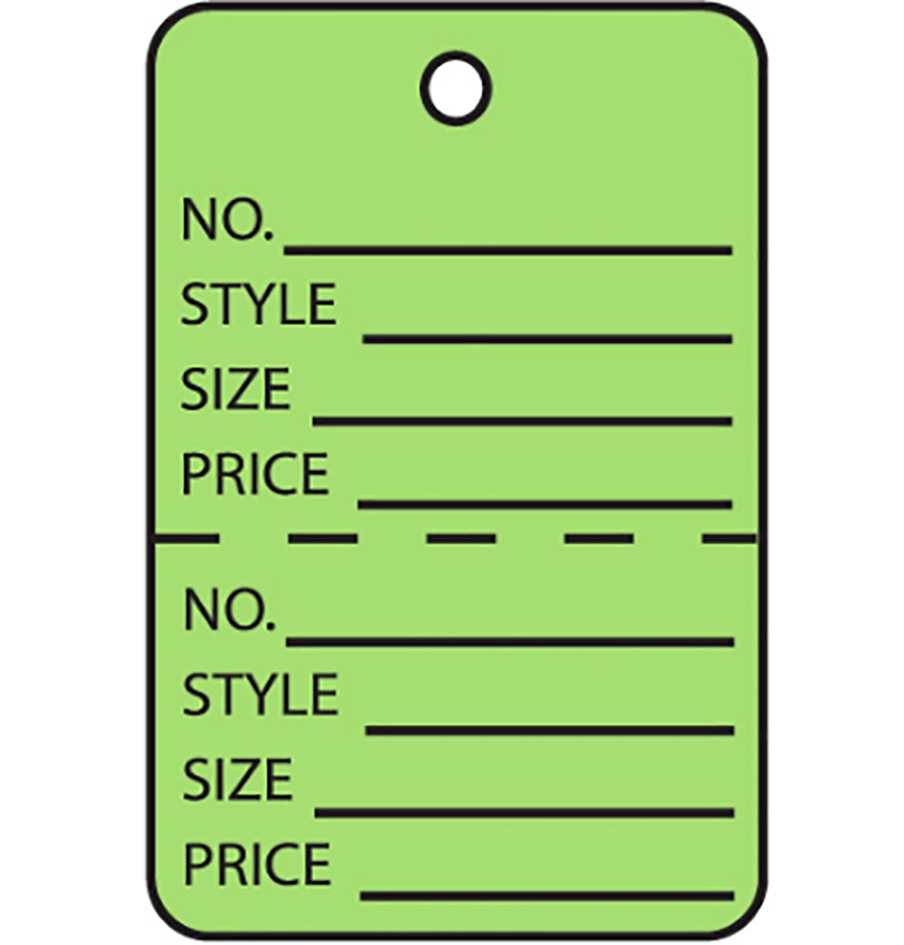 5.25 Length Pack of 1000 RetailSource G26013x1 1 1//4 x 1 7//8 Green Perforated Garment Tags 2 Height