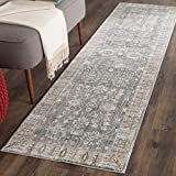 Safavieh Valencia Collection VAL118C Dark Grey and Light Grey Vintage Distressed Silky Polyester Runner Rug (2'3'' x 12')
