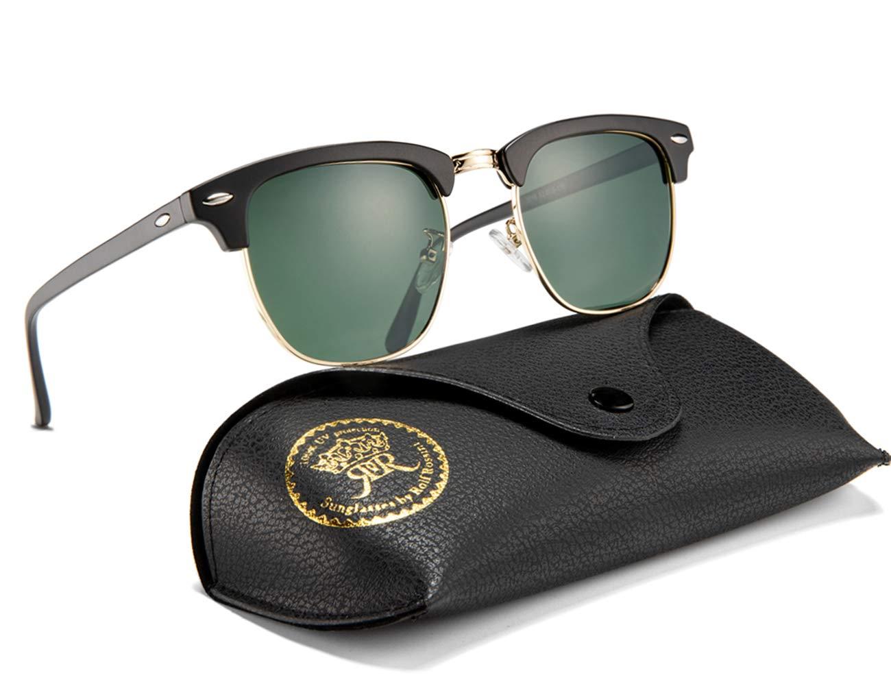 Mens Sunglasses Polarized Retro Classic Semi Rimless Sun Glasses for Women Vintage UV400 Protection With Case (Black, Green) by Rocf Rossini