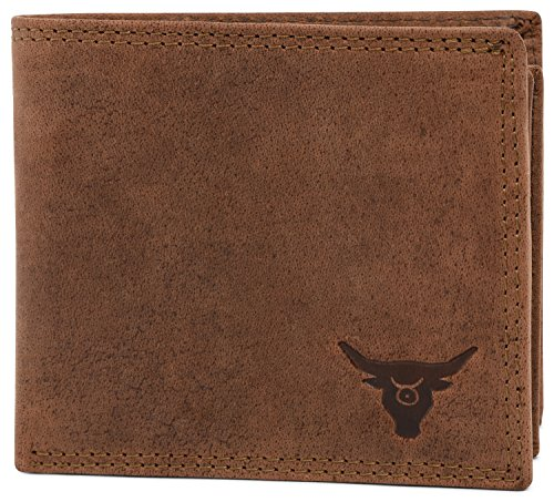 KRYPT 'Jesse the Great' RFID-blocking genuine buffalo leather wallet in vintage style - RusticBrown