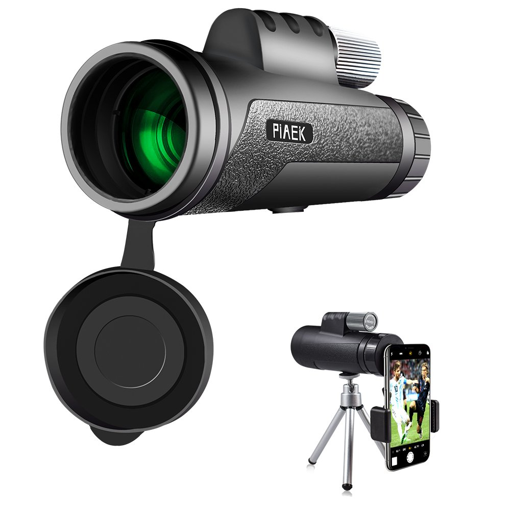 Monocular Telescope, PiAEK 12X50 High Power Prism Compact Monocular with Smartphone Holder, Waterproof Frog-proof for Bird Watching, Camping, Hiking