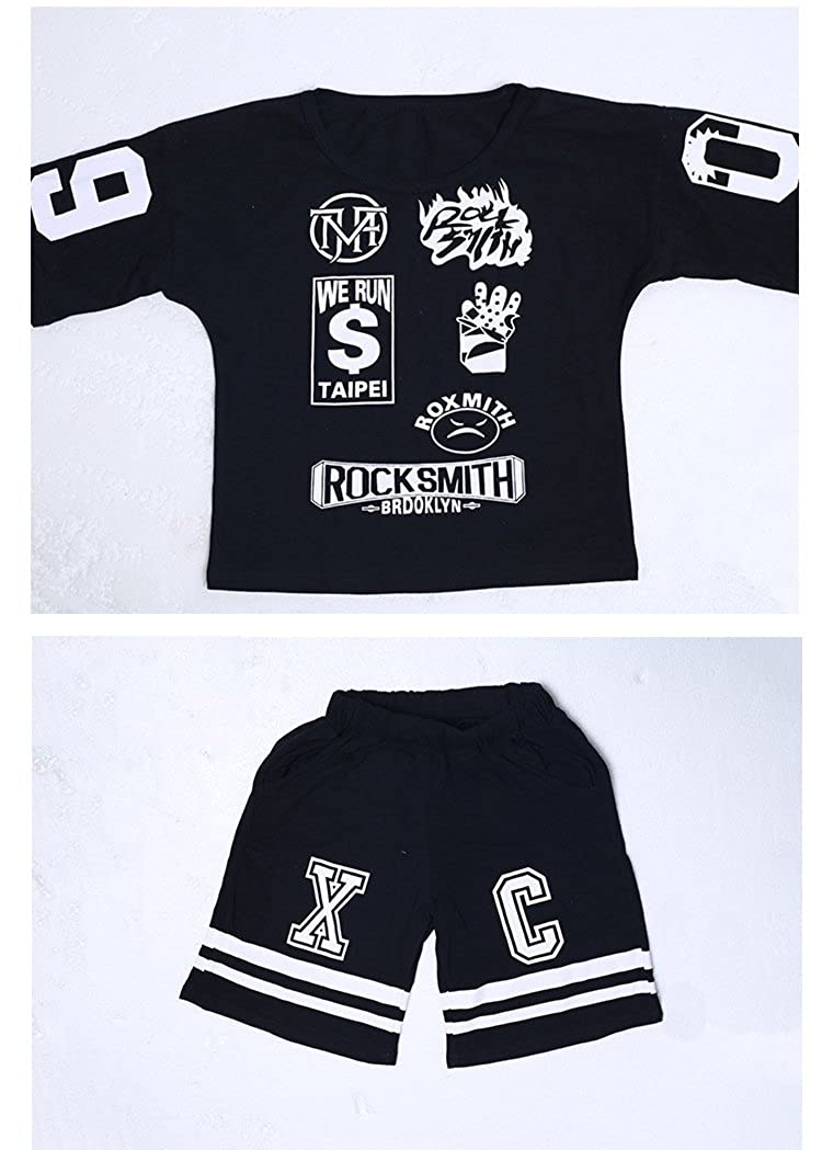 Absolufun Little Boys 2ps Casual Hip-Hop Haren Short Soft Elastic Waisted Outfit
