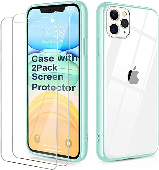 Shockproof Clear Case with Hard PC Shield+Soft TPU Bumper Cover Cases for iPhone 11 Pro Max 6.5 inch. OULUOQI Compatible with iPhone 11 Pro Max Case Black