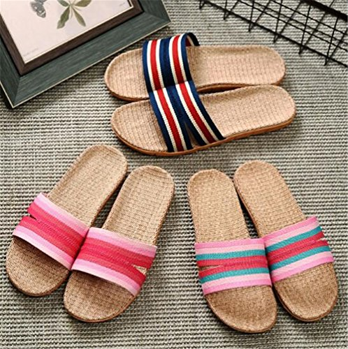 TELLW Lady Men's Linen Cotton Hemp Breathable Light Summer Spring Autumn Indoor Holiday Slippers Men Blue XeUXQ