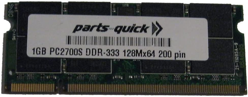 1GB DDR SDRAM Memory Upgrade for HP Pavilion Notebook dv1000 Series (CTO) PC2700 200pin 333MHz Notebook Laptop SODIMM RAM (PARTS-QUICK Brand)