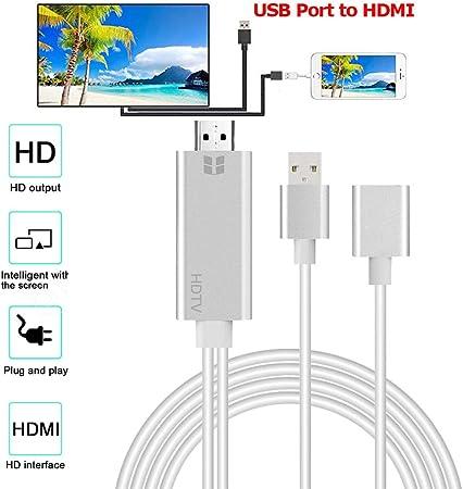 Cable adaptador USB a HDMI 4K HD 1080P HDTV AV TV para iPhone XS/XS MAX/XR: Amazon.es: Hogar