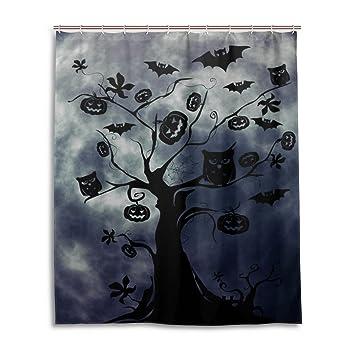 wihve halloween moon bat owl four seasons 60 x 72 inch shower curtain bath decorations bathroom