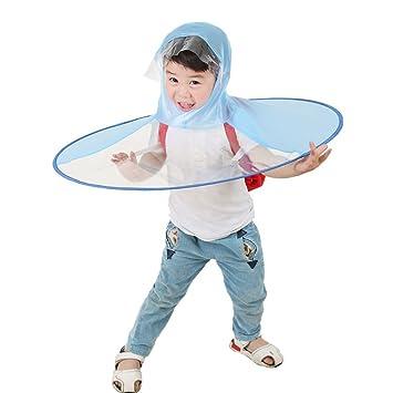angtuo Creative lluvia Cap para adultos o niños plegable manos libres impermeable chubasquero UFO paraguas sombrero