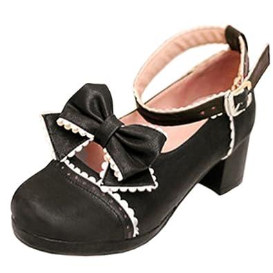 Zanpa Girls Novel Hohe Schuhe Sweet Bowknot Cosplay Pumps Knochelriemchen Black Size 41 ygk8mW