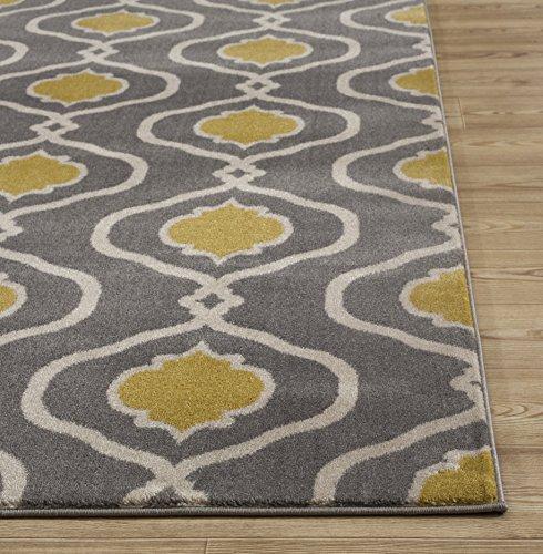 "Moraccan Trellis Modern Gray/Yellow Area Rug 5' 3"" X 7' 3"""