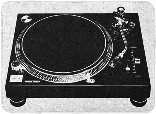 YnimioHOB Alfombrilla de baño Tocadiscos DJ Deck Música Stencil ...