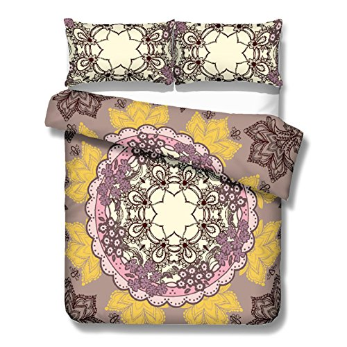 Ornate Flower Vibrations Kaleidoscope Duvet Cover Set 3 Pieces Kaleidoscope Mandala in Mauve And Beige with Elegant Black Line Art (Queen)