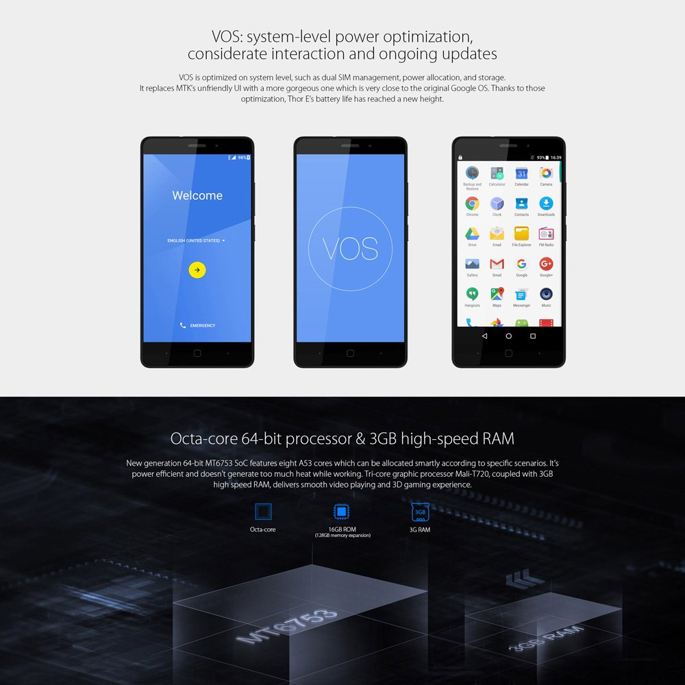 Amazon com: Vernee Thor E, 4G VOS Android 7 0 3GB RAM+16GB ROM