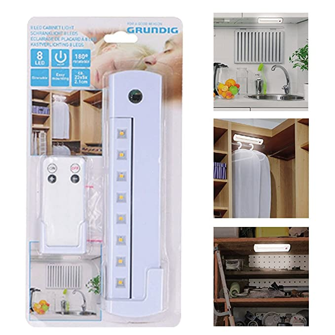 GRUNDIG Schranklicht Unterbauleuchte dimmbar Fernbedienung 180° drehbar Batterie