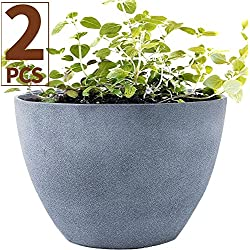 "Flower Pot Garden Planters 12"" Pack 2 Outdoor Indoor, Unbreakable Resin Plant Containers with Drain Hole, Grey"