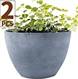 Flower Pot Garden Planters 12'' Pack 2 Outdoor Indoor, Unbreakable Resin Plant Containers with Drain Hole, Grey for Fathers day gifts