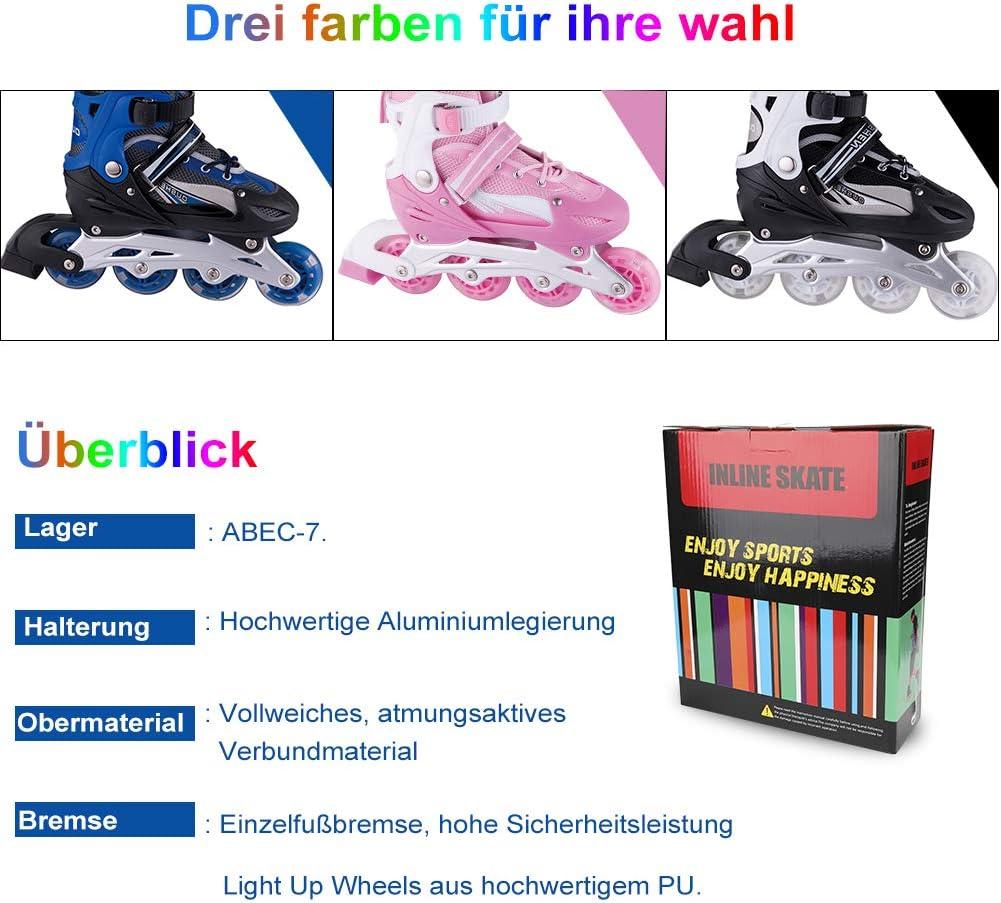 WATERFLY Inliner f/ür Kinder Verstellbar Inline Skates Rollschuhe Mit Leucht PU R/äder Fun Flashing Inliner f/ür Jungen und M/ädchen Jugendliche Anf/änger