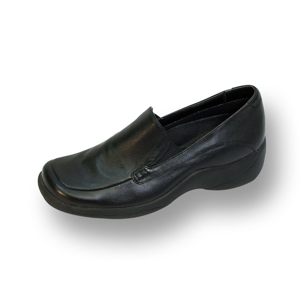 Black 24 Hour Comfort FIC Riley Women Adjustable Wide Width Step in Loafer (Nurse Style & Size Guide Available)